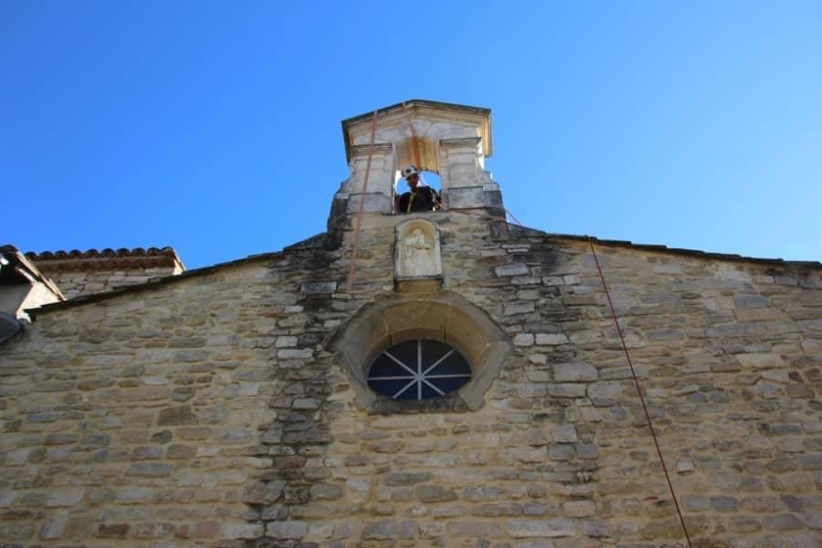 Intervention sur un clocher