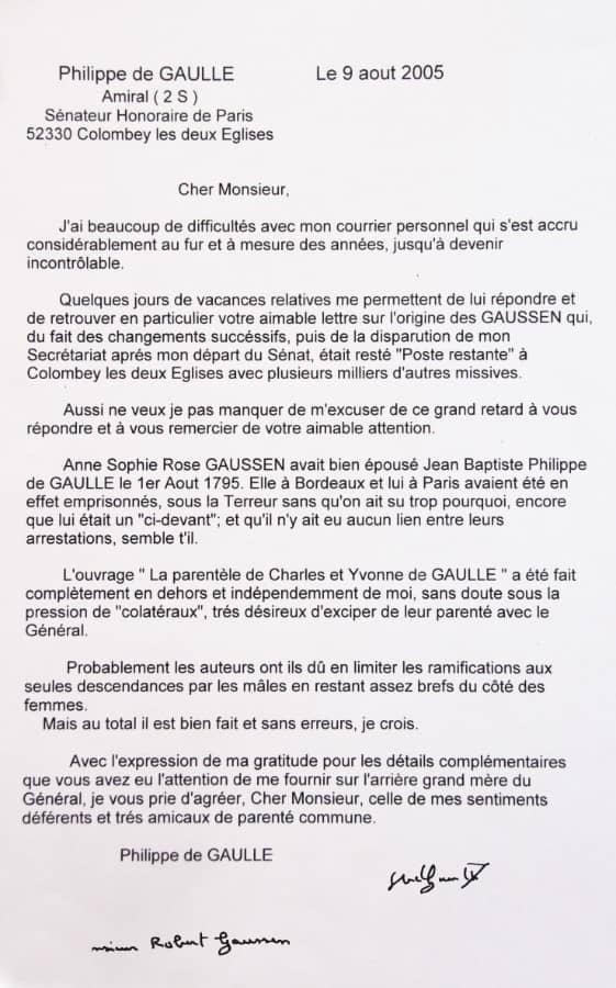 Lettre de Philippe de Gaulle